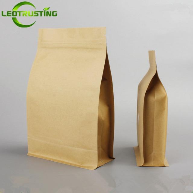 50 pcs Stand up Zip Saco de Papel Kraft Para O Lanche Cookie Papel De Embalagem De chá De Armazenamento Saco Ziplock Doypack Sacos de Embalagem de Presente malotes