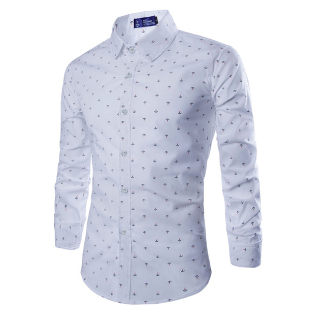 Casual Overhemd Slim Fit.New Stylish Slim Fit Shirt Print Anchors Style Cotton Long Sleeve