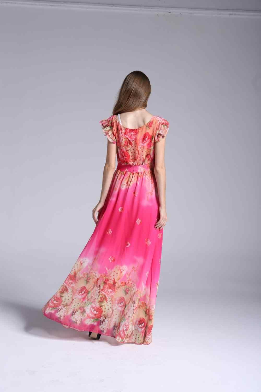 Индийское сари платья 2017, Европа и Америка Горячая Мода Женская одежда, V воротник большой ярдов шифоновое сексуальное платье с печатным рисунком