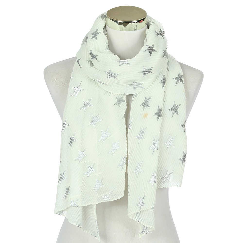 FOXMOTHER Yeni Moda Sky Blue Nane Beyaz Lacivert Renk Folyo Şerit Yıldız Kırışıklık Başörtüsü Eşarp Bayan