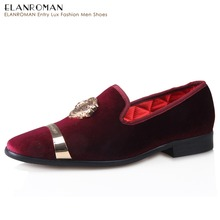 ELANROMAN 2017 Presell New Fashion Party Shoes Mens Velvet Loafer shoes with Metal Top Luxurious Casual Shoes Men Flats