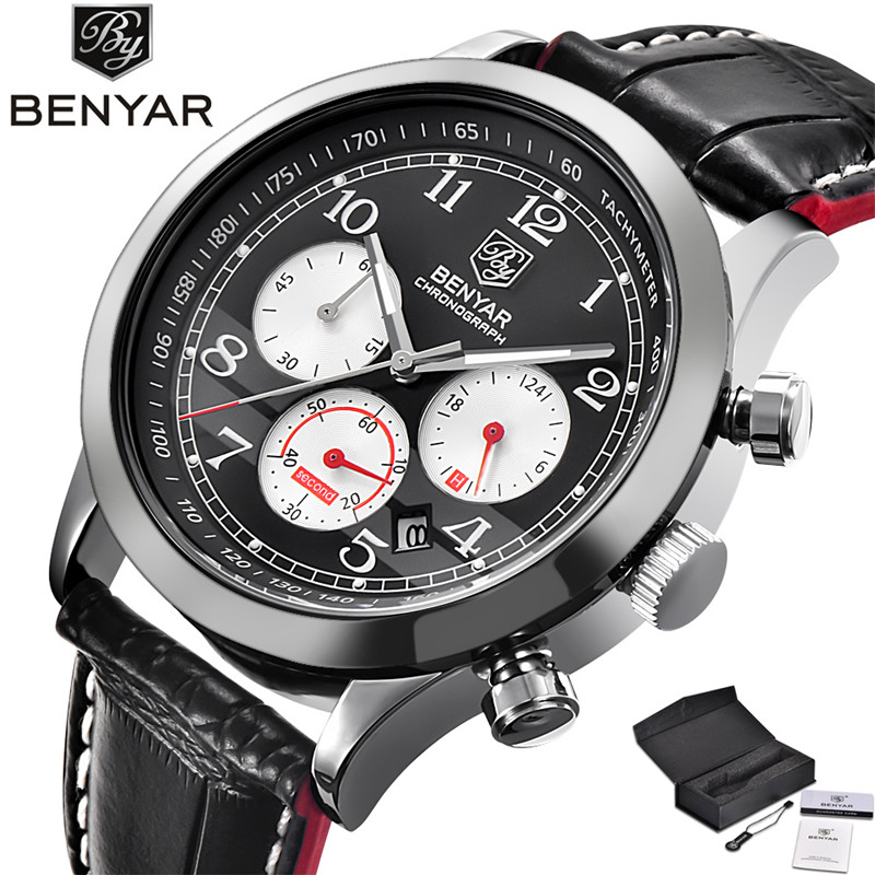 BENYAR High Quality Cool Sport Men Quartz Wristwatch Genuine Leather Band Date 24 Hours Chronograph Dial Male Watches Best Gift sitemap 425 xml