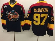 Black Friday Erie Otters  97 Connor McDavid Embroidery Stitched Hockey  Hooded Jerseys Black Size M e1c9a4b64