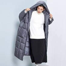 LYNETTE'S CHINOISERIE Winter Original Design Women Ultra Loose Ultra Long Hooded White Duck Down Jackets Oversized Cocoon Coats