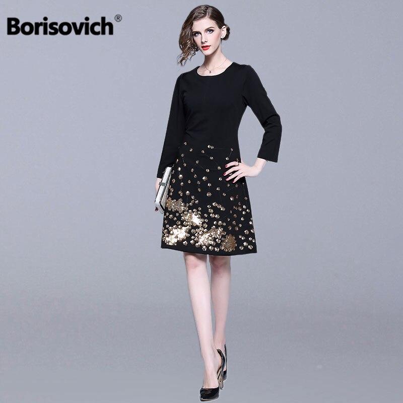 Borisovich femmes noir tenue décontractée nouvelle marque 2019 printemps mode Paillette genou-longueur une ligne élégante dames robes de soirée N431