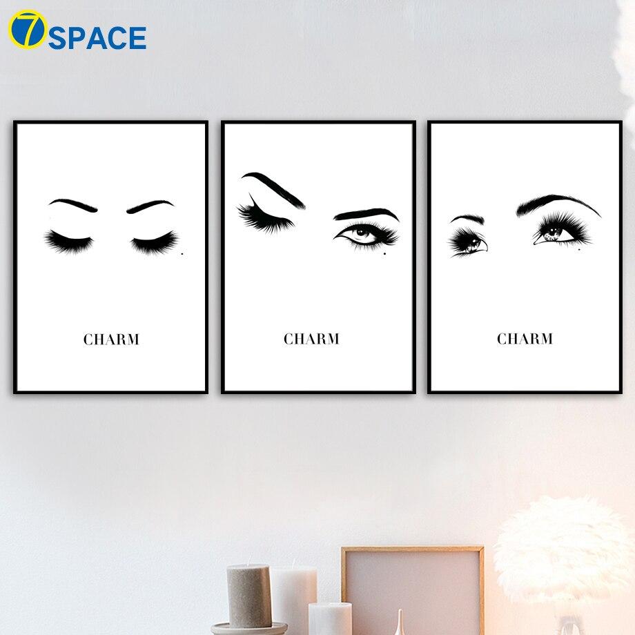 7-espacio ojos ceja pintura lienzo lámina cartel nórdico negro ...