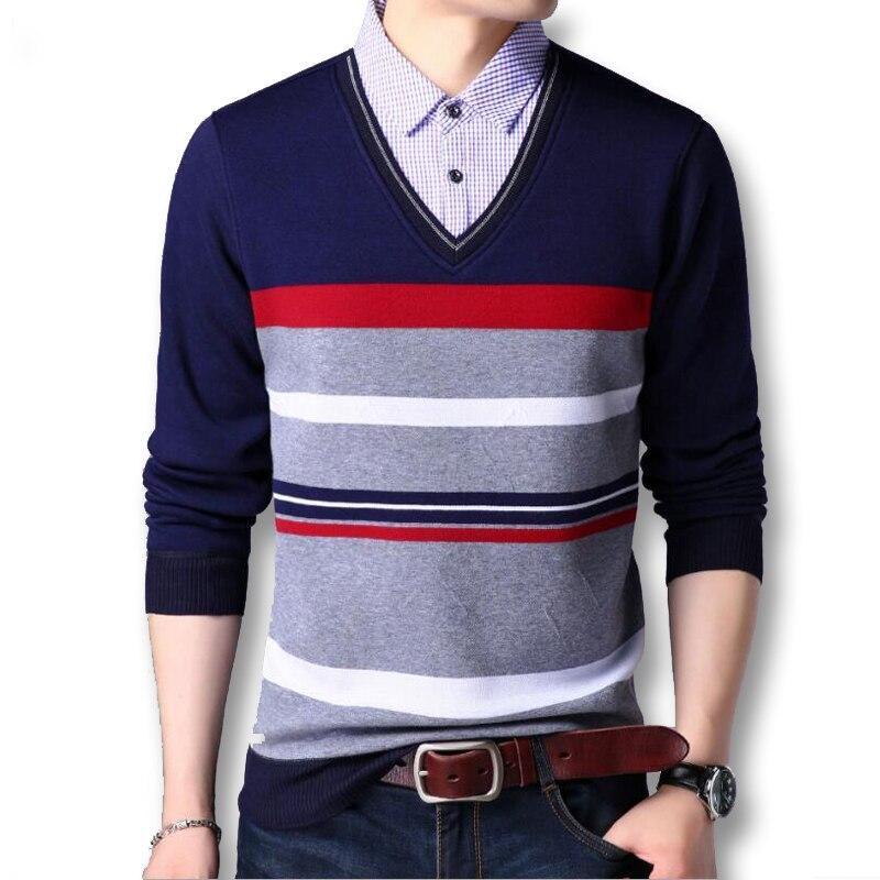 ca849227896b6 New winter 2017 Men sweater Fake two pieces pullover men cotton sweater  Slim Fit men polo ...