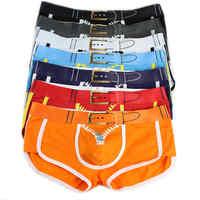 7Pcs/Lot Men's Underwear Boxers Sexy Bulge Pouch Boxer Shorts Trunks Designed 3D Printed Zipper Belt Underpants Wholesales Hot