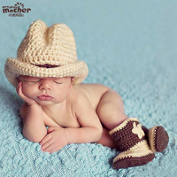 Crochet Newborn Photography Boy Infant Knit Cowboy Hats Boots Baby Photo Props