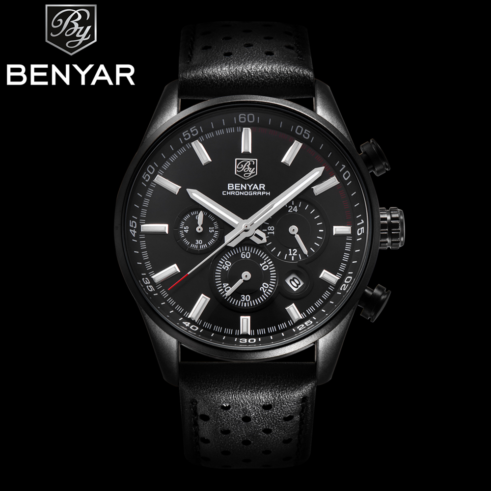Men Luxury Brand Waterproof Quartz Watch BENYAR Sport Chronograph Watches Mens Leather Wristwatches clock Relogio Masculino 2017 reef tiger brand men s luxury swiss sport watches silicone quartz super grand chronograph super bright watch relogio masculino
