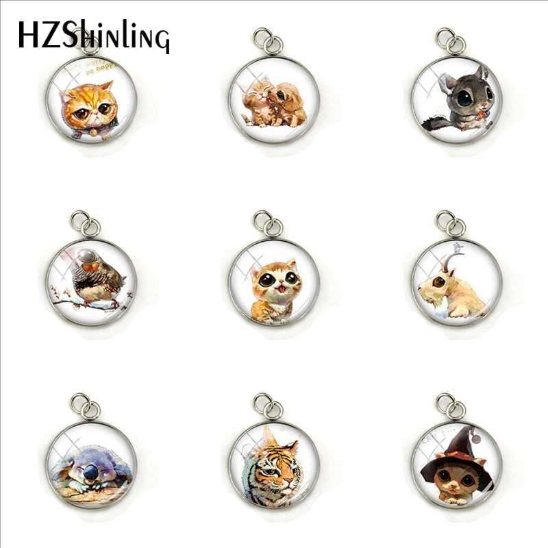 2019 New Lovely Cats Glass Dome Stainless Steel Charms Cute Kittens Photos Silver Color Pendants for Pets Lovers Gifts