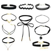 10 PCS/Set New Gothic Tattoo Leather Choker Necklaces Set for Women Hollow Out Black Lace Necklace Jewelry Collier Chain