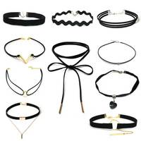 3PCS A Lot Fashion Colorful Gold Silver Rosegold Long Leather Creative Bowknot Necklace Black Chokers Rope