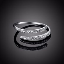 Women Fine Jewelry Pure Sterling Silver Micro Diamond Open Rings Wedding Engagement Finger Ring Accessory Free Shipping(China)