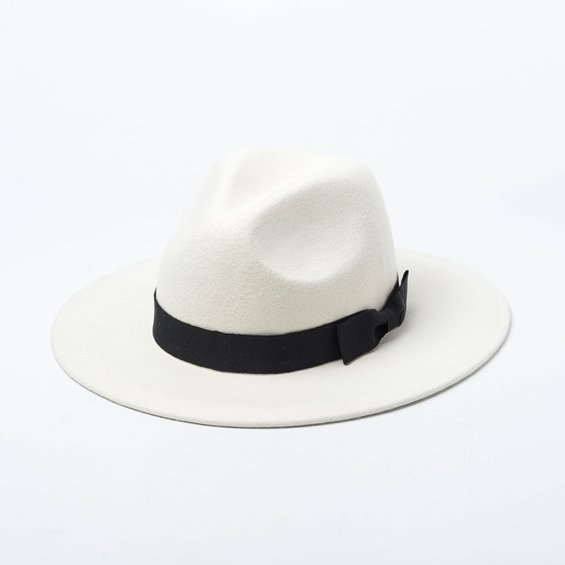 White woolen jazz hat for fall and winter fashion in Europe and America in 2018,Shopping style bow knot wool felt jazz hat