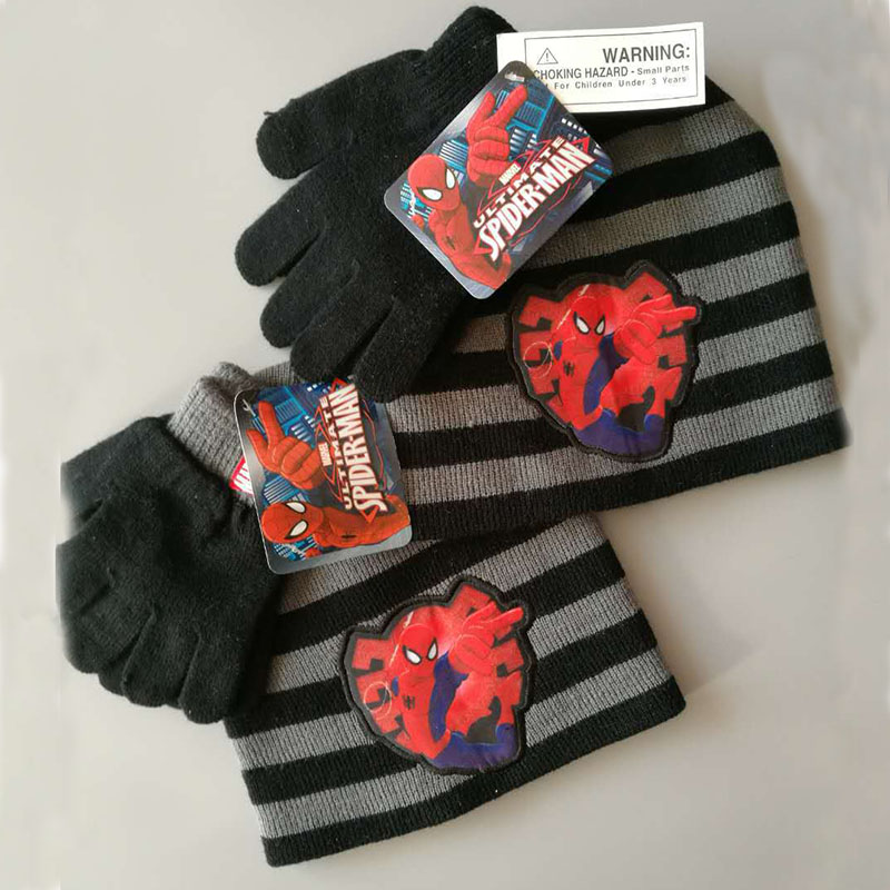 New Autumn Winter Girls Boys Hat Set Gray-black Stripes Spider Man Warm Cap Knitted Hat Gloves Children Hat Sets