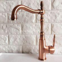 Поворотный носик водопроводной воды Античная Красный Медь Одной ручкой на одно отверстие Кухня раковина и Ванная комната кран бассейна смесителя anf420