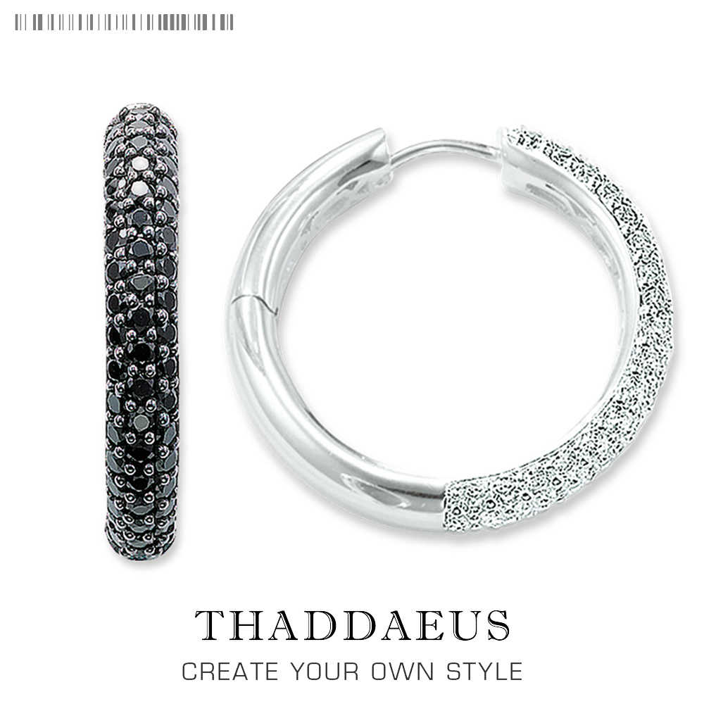 Hinged Hoop Creole Pave Earring,Thomas Style Glam Fashion Good Jewerly For Women,2017 Brand New Ts Gift In 925 Sterling Silver