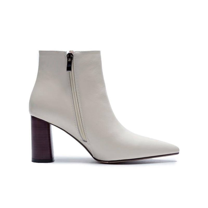 2f2c5ccc4fdbf Bottes Pointu Vankaring Chaussures Orteil Talons Hiver Femmes En À Beige  Cheville De Cuir Tirette Véritable ...