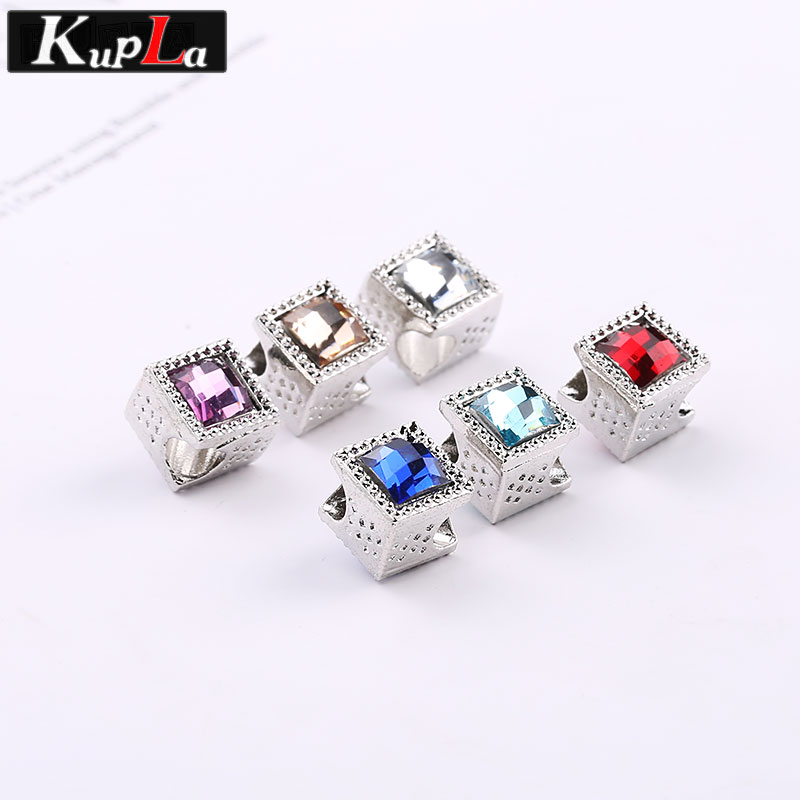Kupla Color Acrylic Square Beads for Pandora Charms DIY Fashion Accessories Metal European Spacer Beads for Jewelry Making