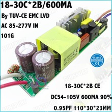 2 Pcs By TUV-EMC LVD 60W AC85-277V LED Driver 18-30Cx2B 600MA DC54-105V Constant Current LED Power For Spotlights Free Shipping