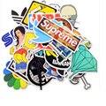 Wishtime Мода Прохладный 100 шт./лот не повторяйте ПВХ Наклейки для Дорожного Чемодана Стены Пенал Велосипед Телефон Скользящие Пластины Автомобиль