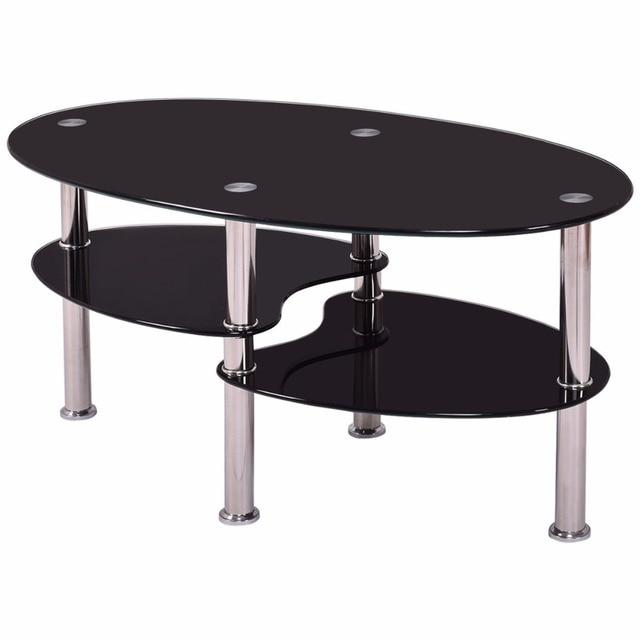 Goplus Tempered Glass Oval Side Coffee Table Shelf Chrome Base Living Room Clear Black Modern Coffee Table HW54317 4