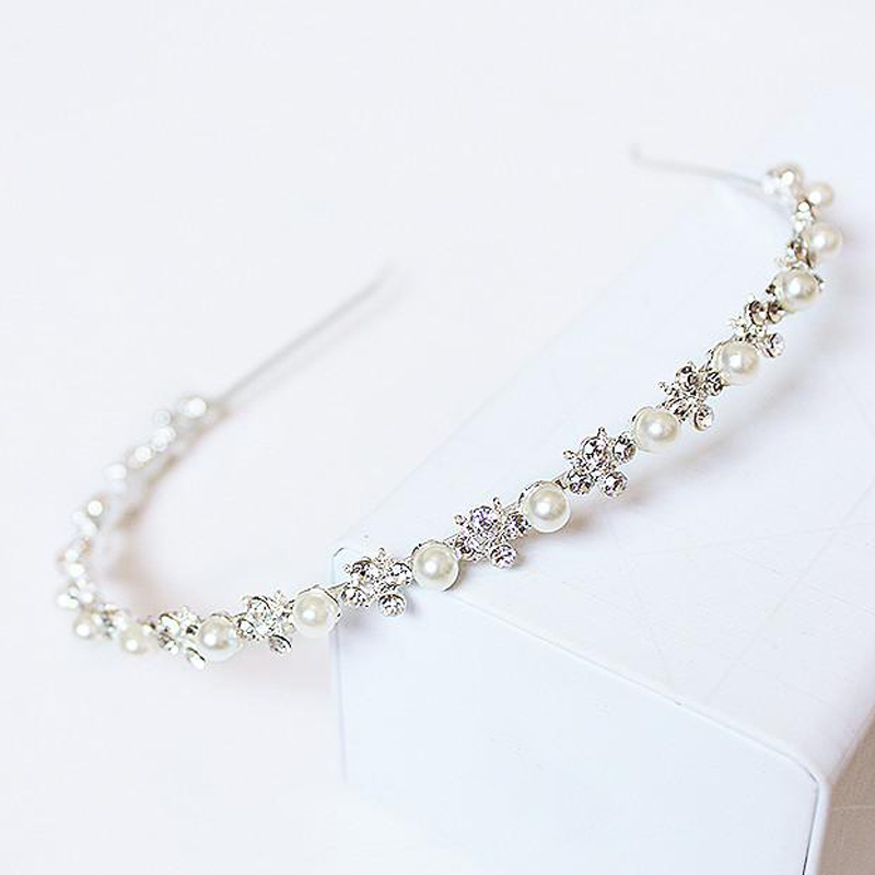 rhinestone crystal pearl headdress, silver wedding tiara with the bride contracted hair Hairwear flower girl Romantic fashion
