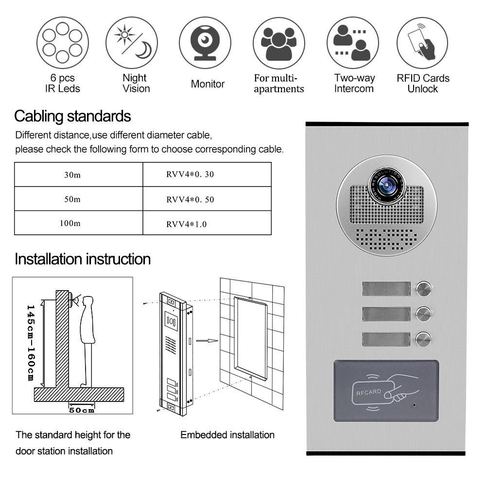 700TVL Home Video Intercom System RFID Access Outdoor Camera Video Doorphone Doorbell IR Night Vision for 2 3 4 6 Apartments