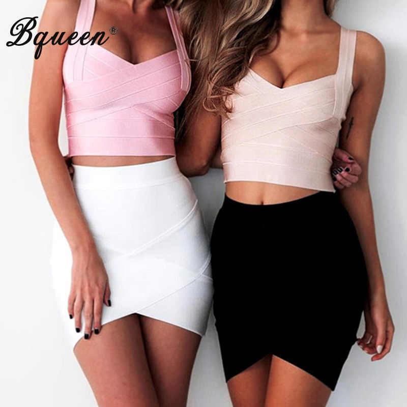Bqueen 2019 Casual Women Solid Irregular High Waist  Elastic Mini Bandage Skirts Summer Sexy Slim Pencil Bodycon Skirts