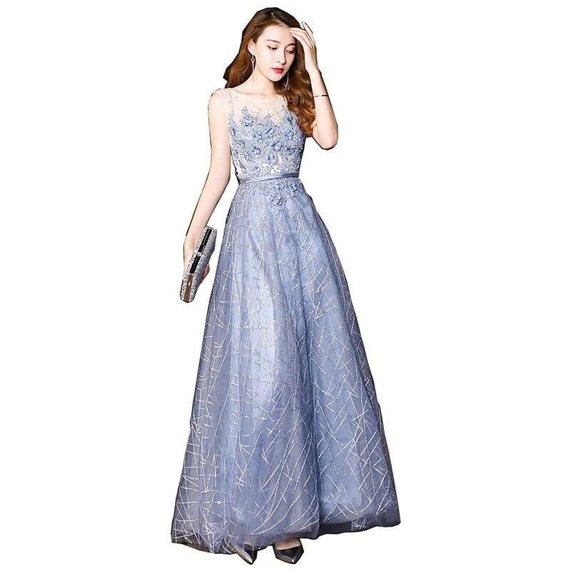 Elegant Applique Evening Dress 2019 Long Banquet Dress Party Women A-line Evening Dress Vestido De Festa