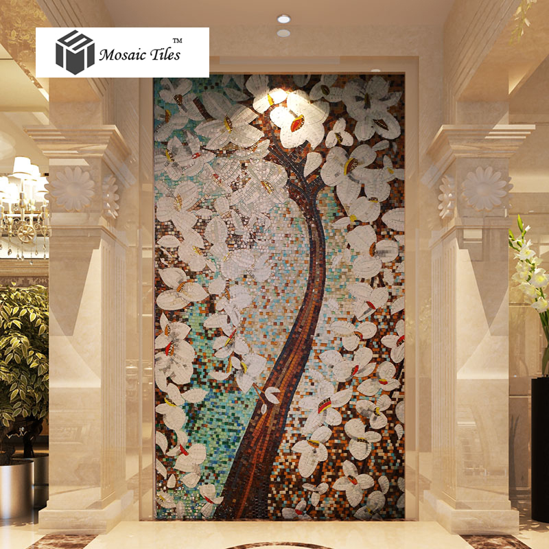 Bisazza style jade glass mosaic tiles pachira tree floral for Art deco tile mural