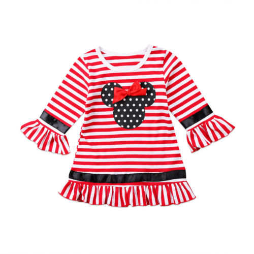 Christmas Toddler Kids Girls Long Sleeve Stripe Mouse Polka Dot Party Dress Cute Drapped A-line Mini Dress Cotton Clothes 1-6Y