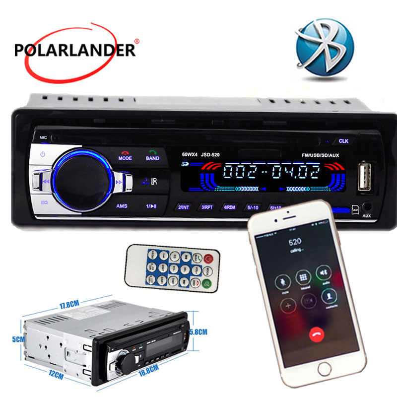 Free shipping!!Car Radio Stereo Player built-in Bluetooth and microphone Phone AUX-IN MP3 For Iphone 12V Car Audio Auto 2014 new