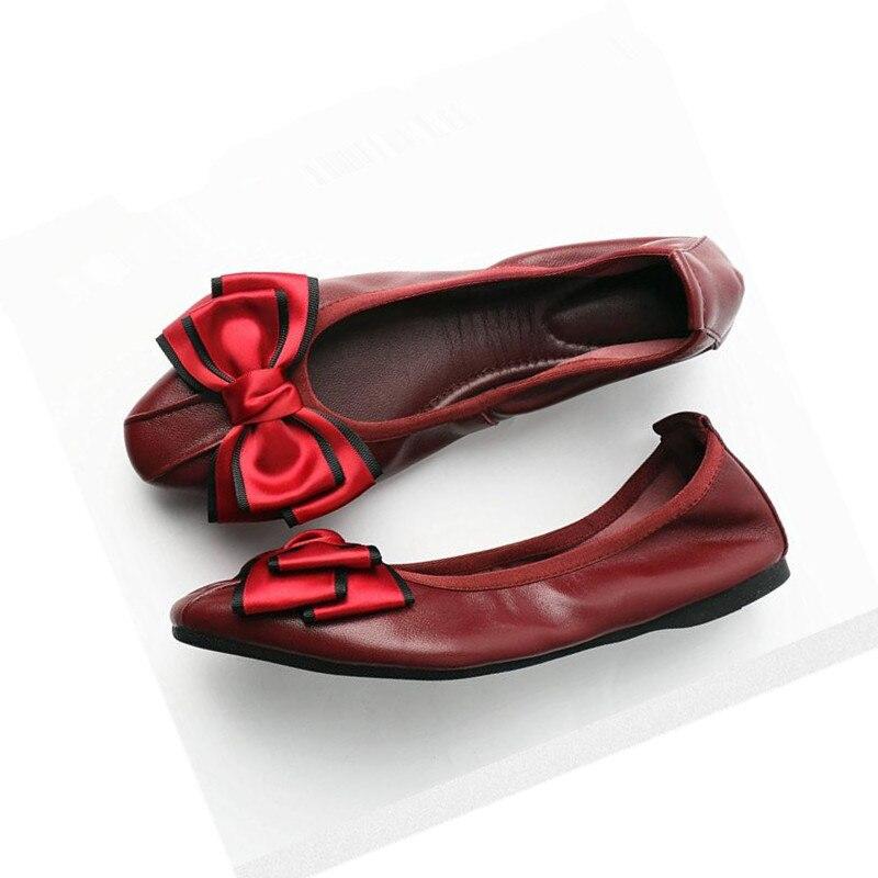 2018 new boat shoes sheepskin Leather pregnant women shoes Summer Flat bowknots Royal blue Plus Size 40 41 Ballet Flats female royal winnipeg ballet