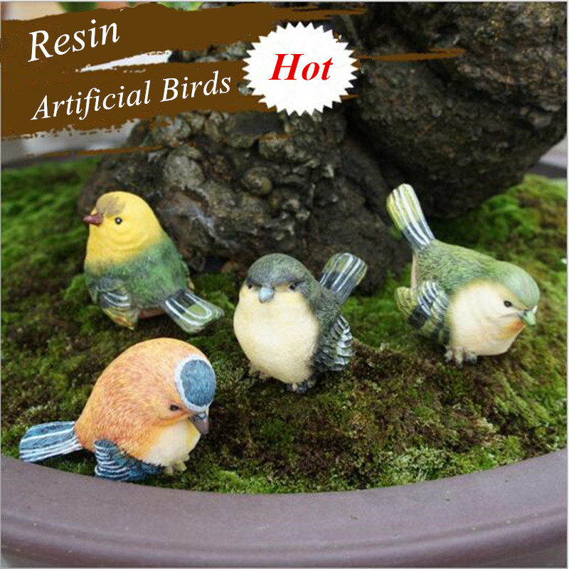 4pcs set diy micro pot plant decoration artificial birds for Artificial birds for decoration