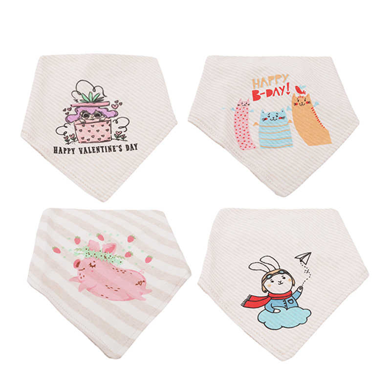 4 قطعة جديد الطفل المرايل لطيف فرس النهر مريلة الطباعة تجشؤ طباعة منديل منشفة الرضاعة الطبيعية Squarescarf