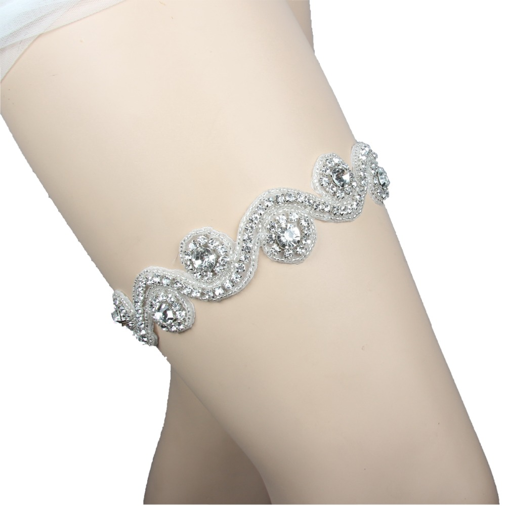 Wedding Leg Garter: New Design Elastic Trim Crystal Applique Wedding Garter