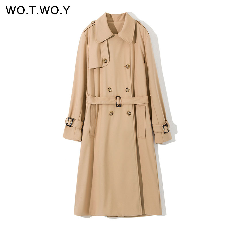 WOTWOY Autumn Women's Long   Trench   Coats Khaki Double Breasted Belt Split Coat Spring Women Loose Office Classic Lady Outwear
