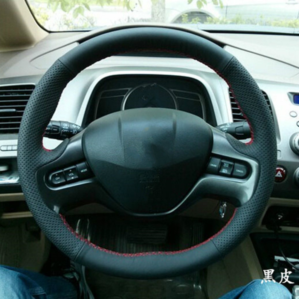 Diy auto dedicated car steering wheel cover for honda civic leather hand sewn steering covers free