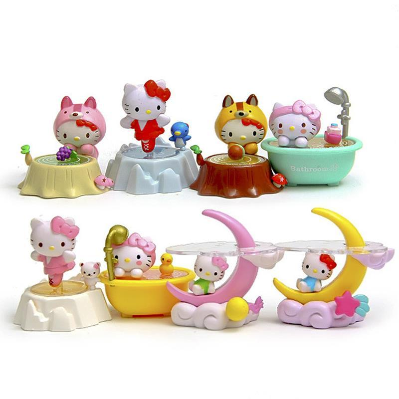 8pcs/set Cute Hello Kitty Action Figures Moon Daily Life Hello Kitty Action Figure Toys Kitty Cat Toy Collection Model Toy Gifts free shipping hello kitty toys kitty cat fruit style pvc action figure model toys dolls 12pcs set christmas gifts ktfg010
