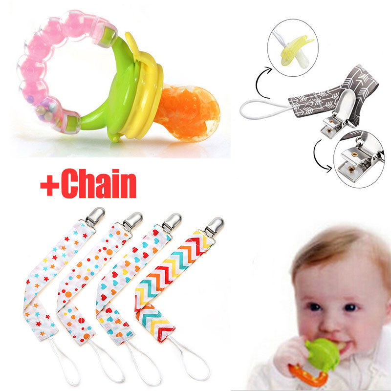 Baby Feeding Bottles Nibble Pacifier Clip Chain Baby Care Pacifier Feeder Fruits Nipple Infant Dummies Soother Feeding Supplies