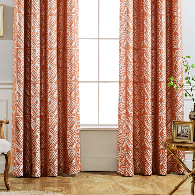 GIGIZAZA Cinnamon Modern Jacquard Black Out Orange Curtains For Living Room  Blue Custom Curtains Pleat For