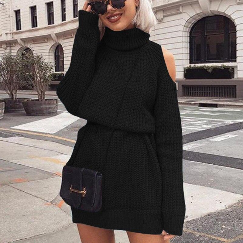 Danjeaner осенне-зимнее трикотажное платье-свитер с высоким воротником и открытыми плечами для женщин, однотонный тонкий длинный пуловер больш...