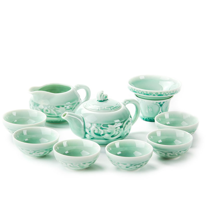 China Porcelain Cups Ceramic Tea Set Kung Fu Pot Infuser Gaiwan Teapot Serving Cup Teacup Chinese Drinkware High Quality B005