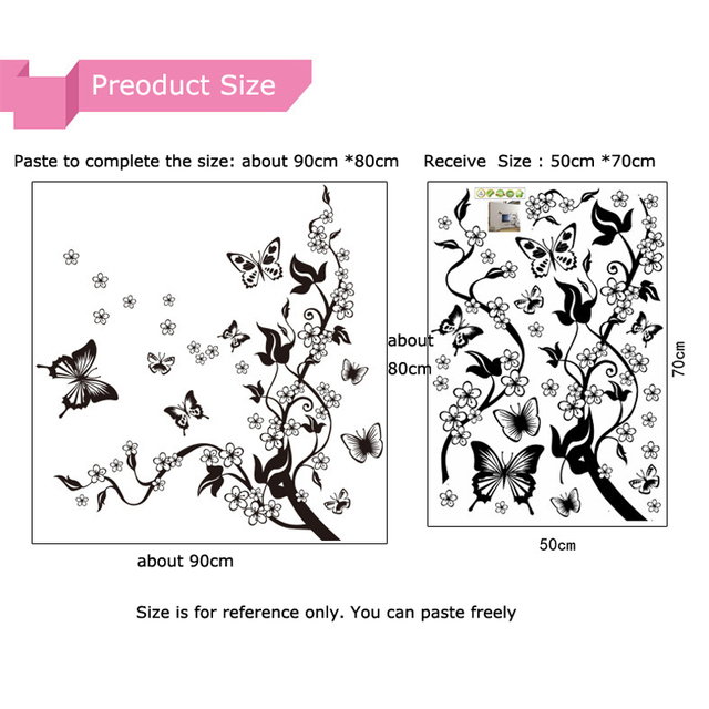 Fashion Romantic Flower Wall Sticker Art Decal background decoration Wall Stickers Home Decor butterfly 3D Wallpaper on the wall 6