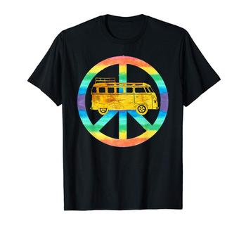Vintage Hippie Bus Rainbow Van Peace Sign Car Gold Printed Men Fashion 2019 Casual Solid Color High Quality T Shirt Design
