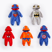 Winter Thickened Flannel Baby Super Hero Clothing Long Sleeve Hooded Baby Rompers Jumpsuits for Boy The Avengers Infant Overalls