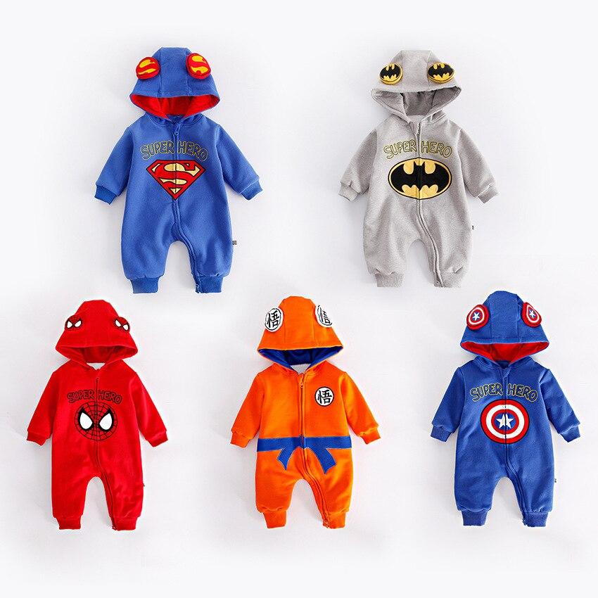 Hiver épaissi flanelle bébé Super héros vêtements à manches longues à capuche bébé barboteuses combinaisons pour garçon les Avengers salopette pour bébé