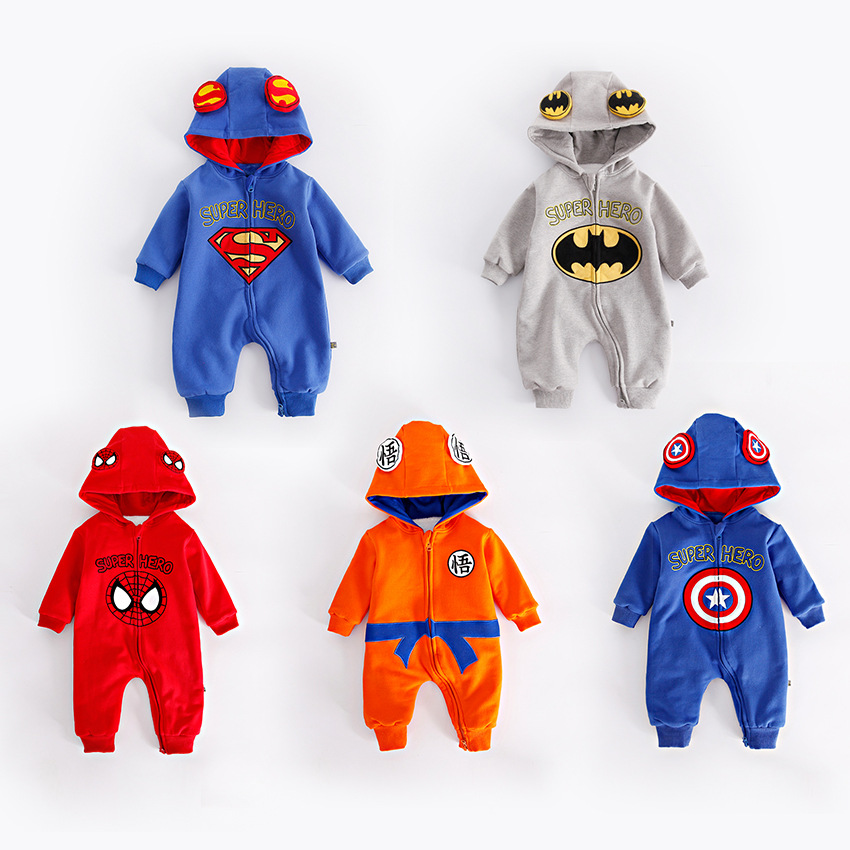Winter Thickened Flannel Baby Super Hero Clothing Long Sleeve Hooded Baby Rompers Jumpsuits for Boy The Avengers Infant OverallsWinter Thickened Flannel Baby Super Hero Clothing Long Sleeve Hooded Baby Rompers Jumpsuits for Boy The Avengers Infant Overalls
